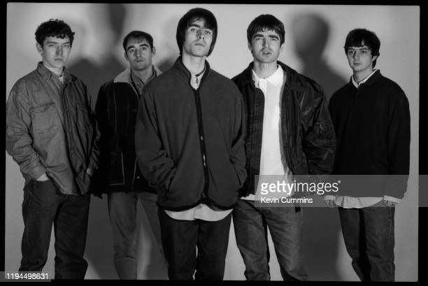 British rock band Oasis, UK, 21st february 1994; they are Tony McCarroll, Paul Arthurs, Liam Gallagher, Noel Gallagher, and Paul McGuigan.