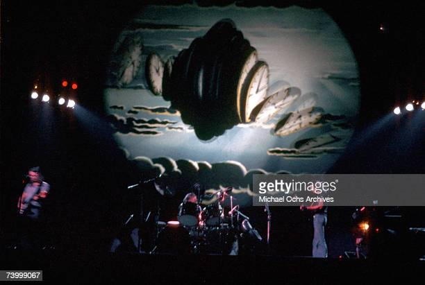 British rock band Pink Floyd LR David Gilmour Nick Mason and Roger Waters perform live at the Los Angeles Memorial Sports Arena in April 1975 in Los...