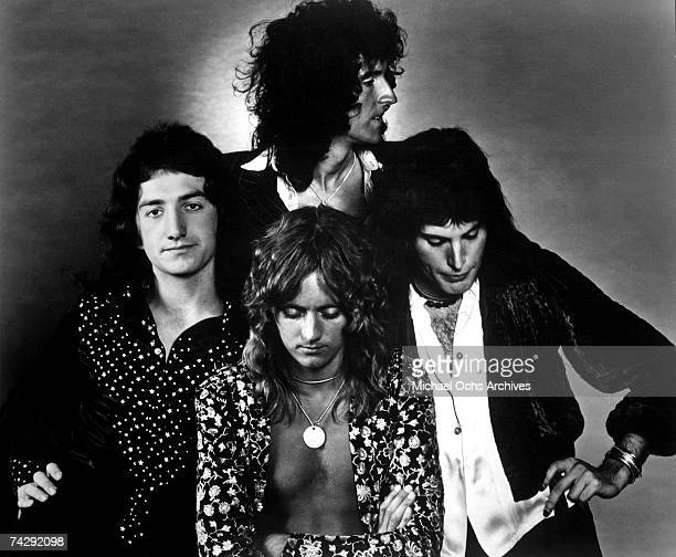 British rock band Queen (clockwise from top: Brian May, Freddie Mercury, Roger Taylor and John Deacon pose for an Electra Records publicity still to...