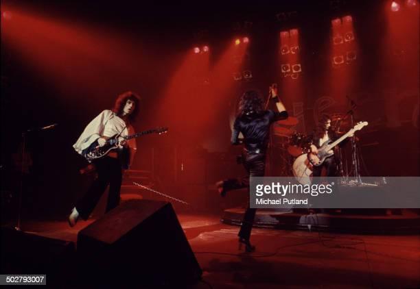 British rock band Queen in concert in London, 1974.