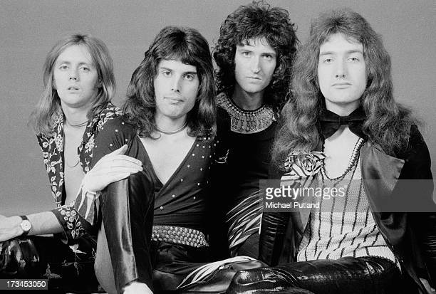 British rock band Queen, London, 1973. Left to right: drummer Roger Taylor, singer Freddie Mercury , guitarist Brian May, and bassist John Deacon.
