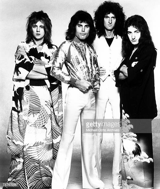 British rock band Queen LR Roger Taylor Freddie Mercury Brian May and John Deacon pose for an Electra Records publicity still to promote their tour...