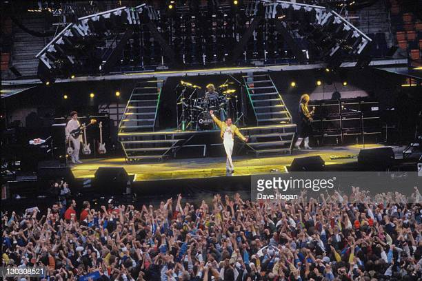 British rock band Queen on stage in Stockholm Sweden 7th August 1986