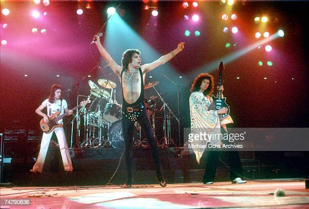 British rock band Queen perform in concert with Freddie Mercury wearing black leotard at the Forum on December 22 1977 in Inglewood California