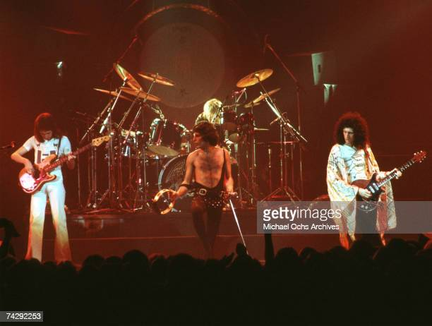 British rock band Queen perform in concert with Freddie Mercury wearing black leotard at the Forum on December 22, 1977 in Inglewood, California.