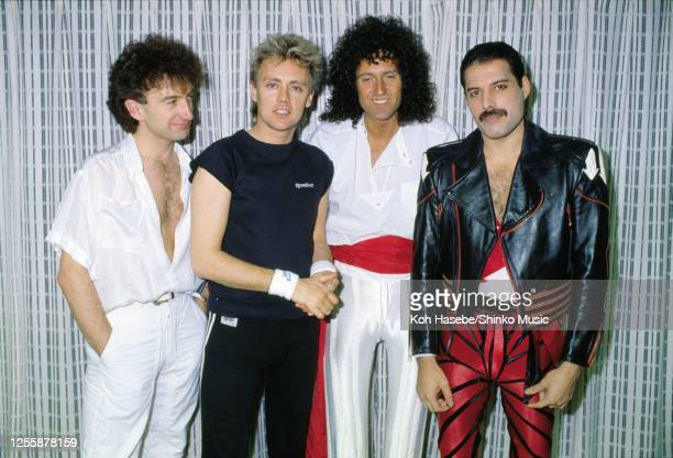British rock band Queen perform on 'The Works' tour, the venue, May 1985. John Deacon , Roger Taylor , Brian May , Freddie Mercury .
