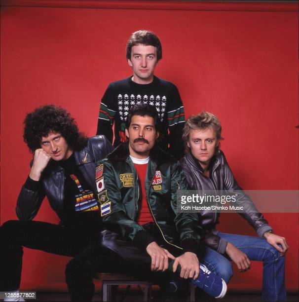 British rock band Queen, photo shoot at Tokyo, Japan, February 1981. Brian May , Freddie Mercury , Roger Taylor John Deacon .