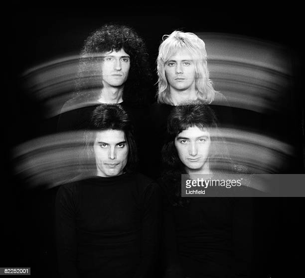 British rock band Queen photographed in the Studio on 28th October 1976 Clockwise from top right Roger Taylor John Deacon Freddie Mercury and Brian...