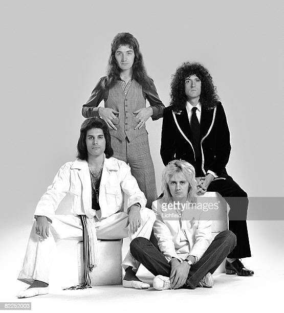 British rock band Queen photographed in the Studio on 28th October 1976 Clockwise from top left John Deacon Brian May Roger Taylor and Freddie Mercury
