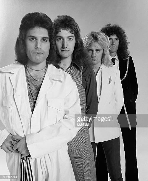 British rock band Queen photographed in the Studio on 28th October 1976 From the front Freddie Mercury John Deacon Roger Taylor and Brian May