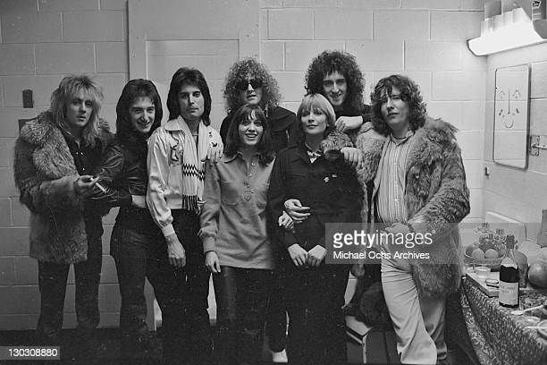 British rock band Queen pose with Ian Hunter of Mott the Hoople and music producer Roy Thomas Baker at the Montreal Forum 26th January 1977