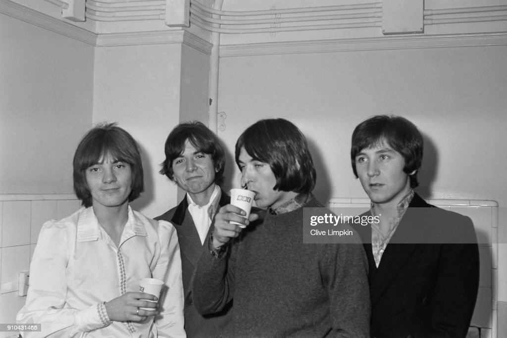 Steve Marriott (1947 - 1991), Ronnie Lane (1946 - 1997), Ian McLagan (1945 - 2014), and Kenney Jones, UK, 5th January 1968.