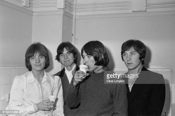 British rock band Small Faces: Steve Marriott , Ronnie Lane , Ian McLagan , and Kenney Jones, UK, 5th January 1968.