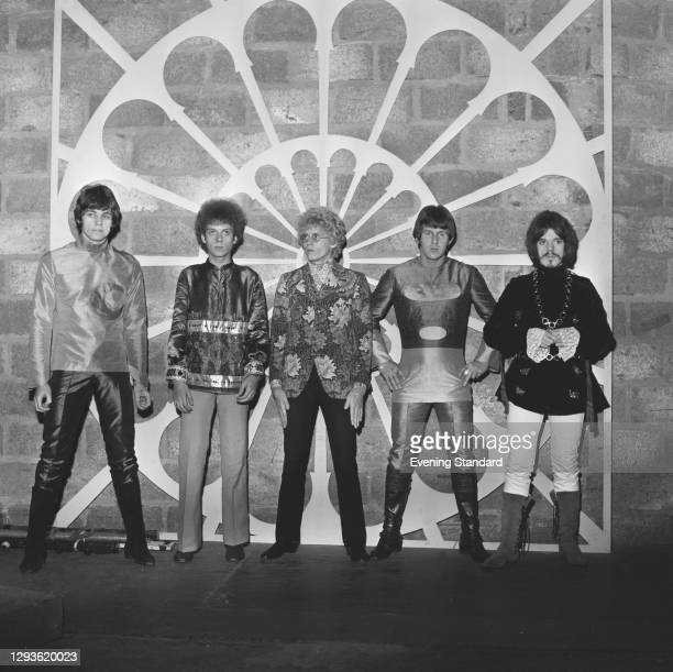 British rock band The Move appear on the BBC music television show 'Top of the Pops', UK, 8th September 1967. From left to right, Bev Bevan, Trevor...