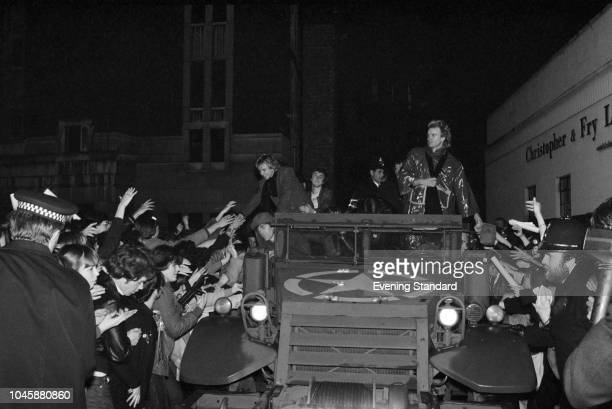 British rock band The Police traveling in an armored car from Hammersmith Odeon to Hammersmith Palais on the night when they played both venues...