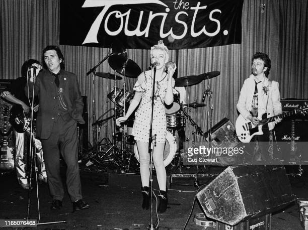 British rock band The Tourists performing live circa 1976 they are David Stewart Peet Coombes Annie Lennox Eddie Chin and Jim Toomey