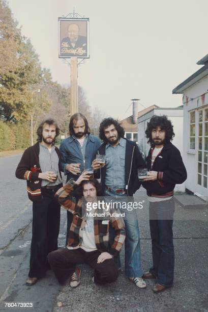 British rock group Ace outside a pub 29th October 1975 Left to right singer Paul Carrack guitarist Alan King bassist Tex Comer drummer Fran Byrne and...
