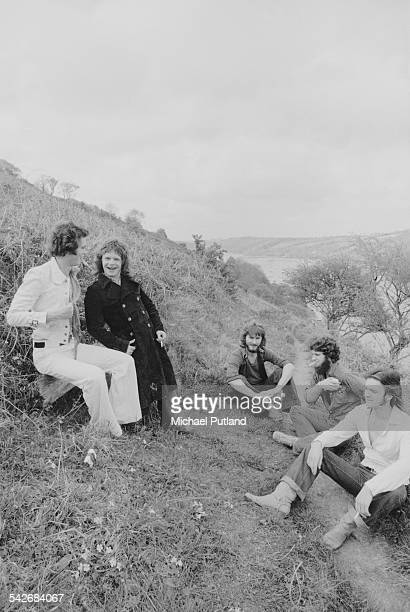 British rock group Back Street Crawler, Cornwall, 2nd May 1975. Left to right: keyboard player Mike Montgomery, ex- Free guitarist Paul Kossoff ,...