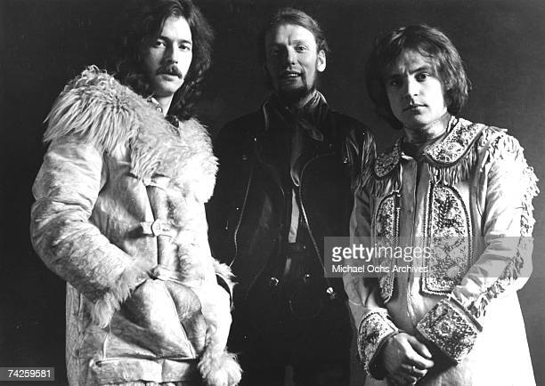 British Rock Group Cream poses for a portrait in 1968 LR Eric Clapton Ginger Baker Jack Bruce
