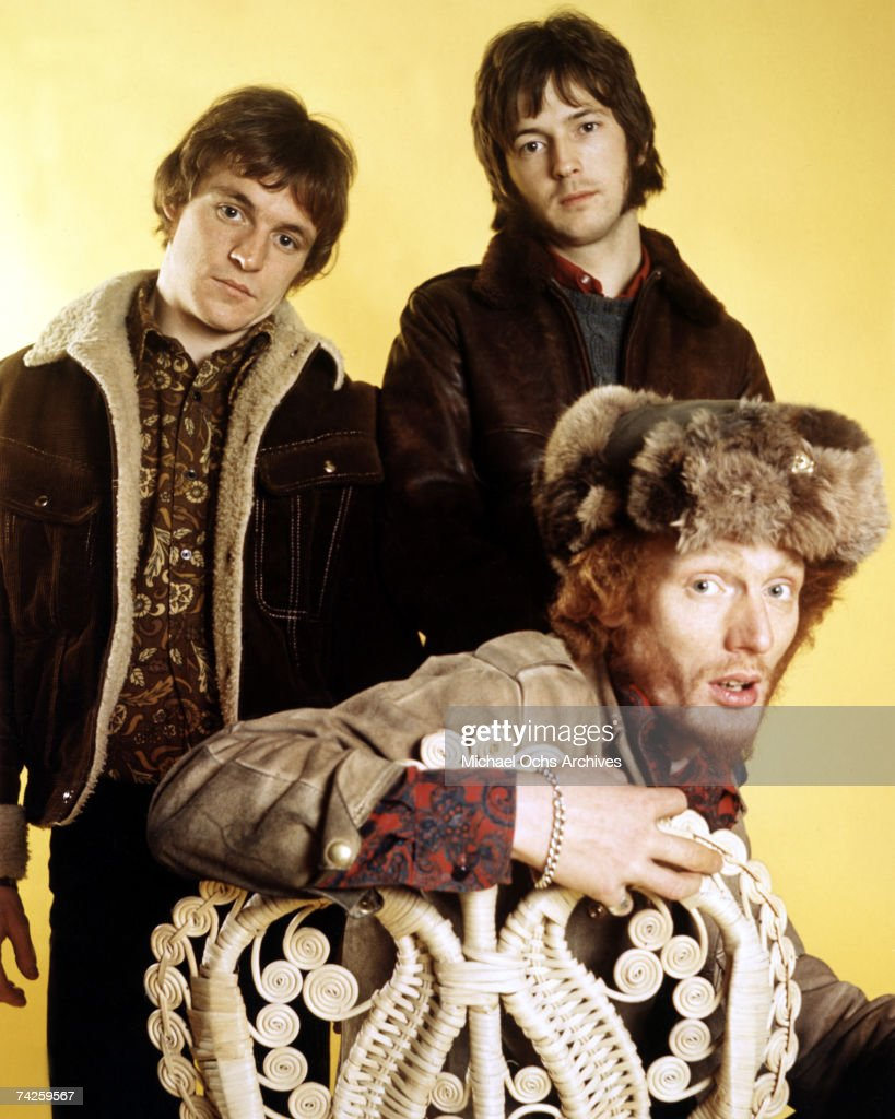 British Rock Group 'Cream' poses for a portrait in 1968. L-R: Jack Bruce, Eric Clapton, Ginger Baker.