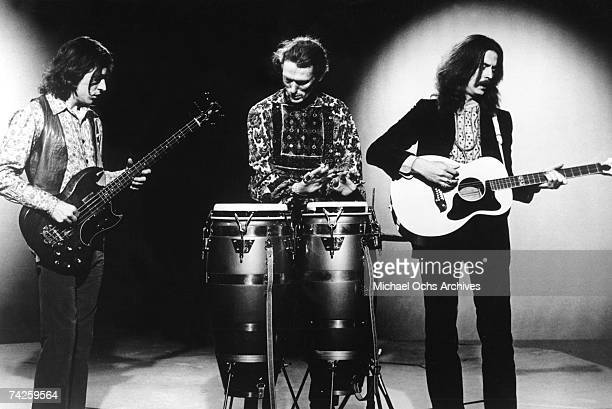 British Rock Group Cream poses for a portrait with their instruments in 1968 LR Jack Bruce Ginger Baker Eric Clapton