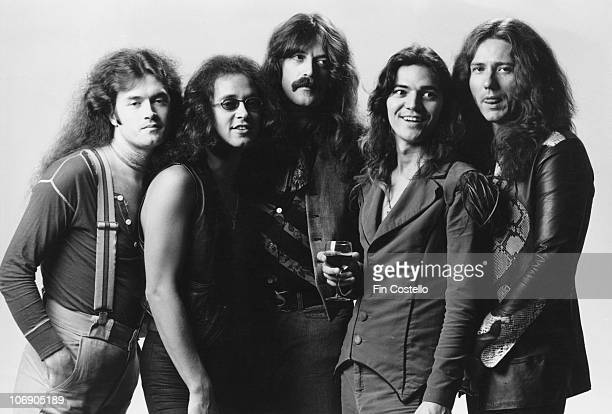 British rock group Deep Purple 1976 Left to right bassist Glenn Hughes drummer Ian Paice keyboard player Jon Lord guitarist Tommy Bolin and singer...
