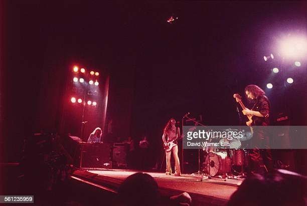 British rock group Deep Purple performing on stage circa 1973 Left to right Jon Lord Glenn Hughes Ian Paice and Ritchie Blackmore