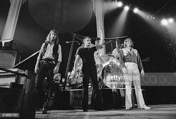 British rock group Emerson Lake and Palmer on stage, April 1974. Left to right: Keith Emerson, Carl Palmer and Greg Lake.