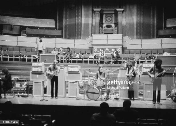 British rock group Fleetwood Mac on stage at the Royal Albert Hall London on 22nd April 1969 Left to right Jeremy Spencer on keyboards Danny Kirwan...