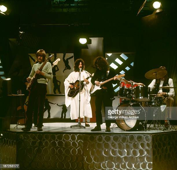 British rock group Fleetwood Mac performs on television London England 1969 Pictured are from left Danny Kirwan John McVie Peter Green Jeremy Spencer...