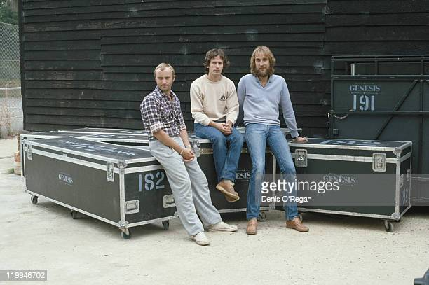 British rock group Genesis during their 1992 World Tour Left to right singer and drummer Phil Collins keyboard player Tony Banks and guitarist Mike...