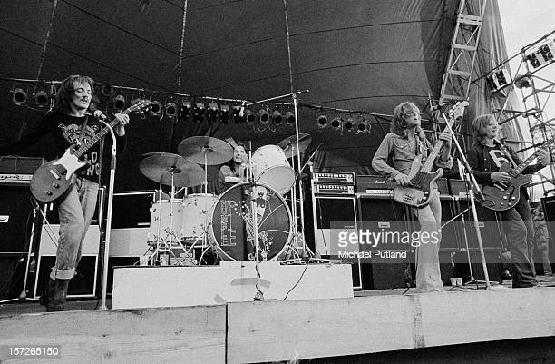 British rock group Humble Pie performing at the Great Western Express Lincoln Festival Bardney Lincolnshire 29th May 1972 Left to right Steve...