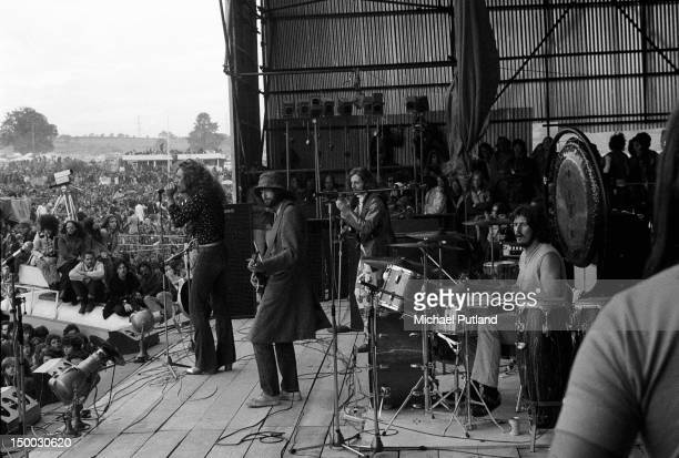 British rock group Led Zeppelin performing at the Bath Festival Shepton Mallet 28th June 1970 Left to right singer Robert Plant guitarist Jimmy Page...