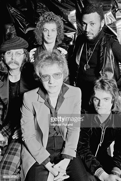 British rock group Medicine Head, 16th February 1974. Clockwise, from front: drummer Rob Townsend , singer and guitarist John Fiddler, harmonica...
