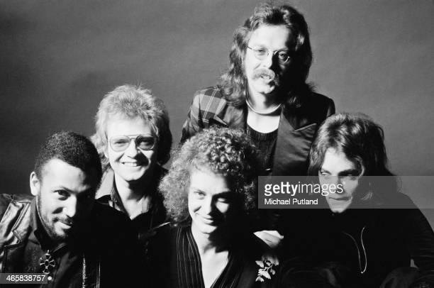 British rock group Medicine Head, 16th February 1974. Left to right: bassist George Ford, drummer Rob Townsend , harmonica player Peter Hope-Evans,...