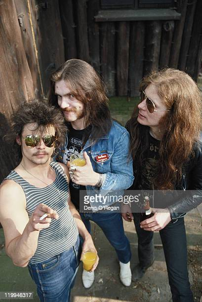 British rock group Motorhead circa 1980 Left to right drummer Phil 'Philthy Animal' Taylor bassist and singer Lemmy and guitarist 'Fast' Eddie Clarke