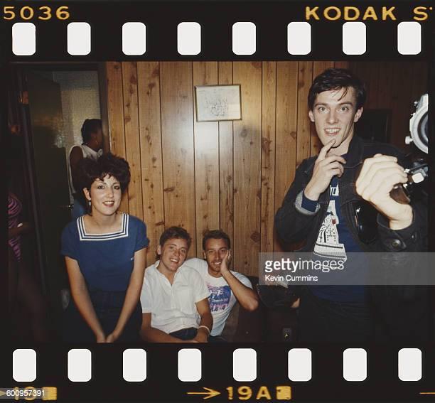 British rock group New Order New York July 1983 Left to right keyboard player Gillian Gilbert singer/guitarist Bernard Sumner bassist Peter Hook and...
