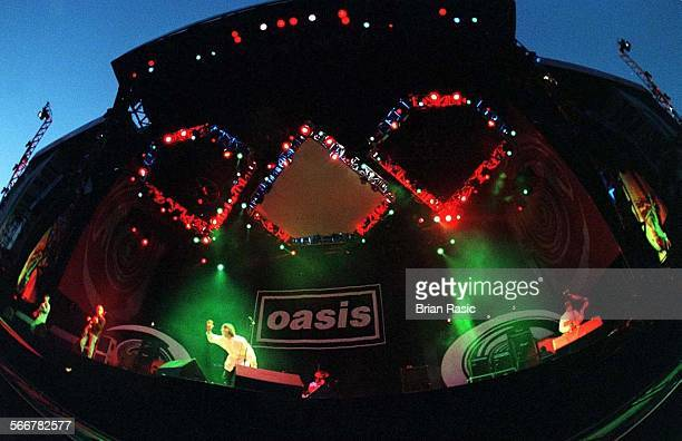 British rock group, Oasis, performing at Knebworth House, Hertfordshire, 10th August 1996.