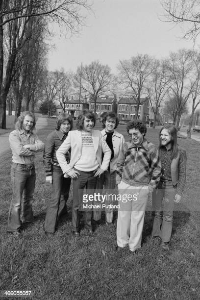 British rock group Procol Harum 1974 Left to right bassist Alan Cartwright guitarist Chris Copping drummer BJ Wilson singer and pianist Gary Brooker...