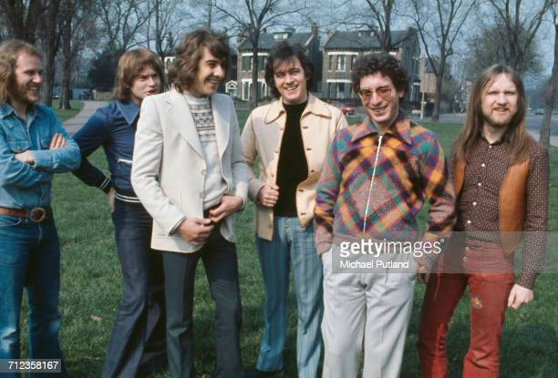 British rock group Procol Harum posed together in England in 1974 Left to right bassist Alan Cartwright guitarist Chris Copping drummer BJ Wilson...