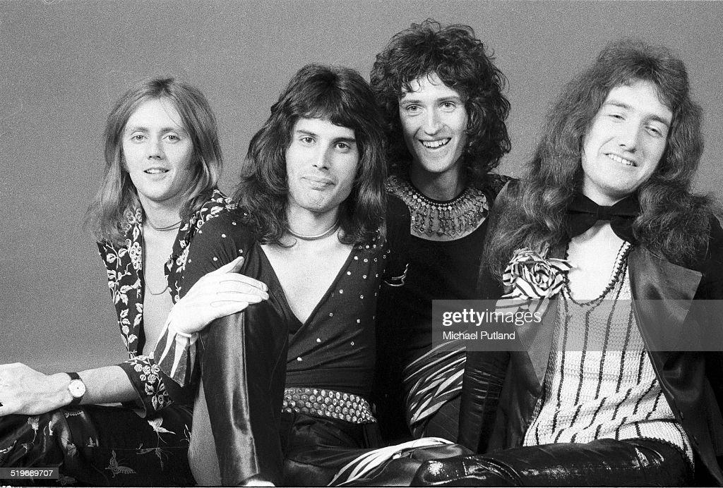 British rock group Queen, London, 1973. Left to right: drummer Roger Taylor, singer Freddie Mercury (1946 - 1991), guitarist Brian May and bassist John Deacon.