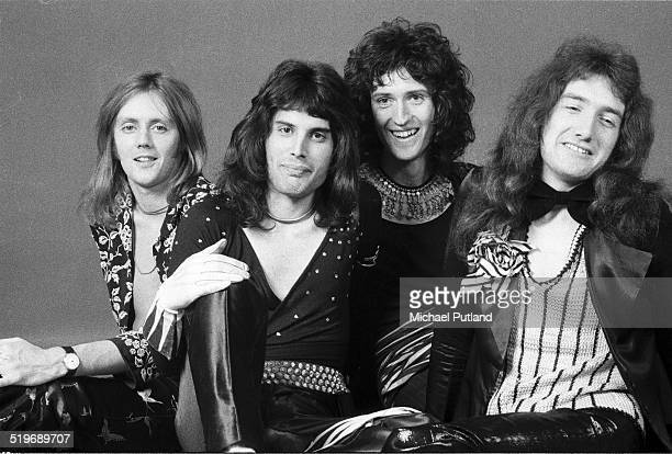 British rock group Queen London 1973 Left to right drummer Roger Taylor singer Freddie Mercury guitarist Brian May and bassist John Deacon