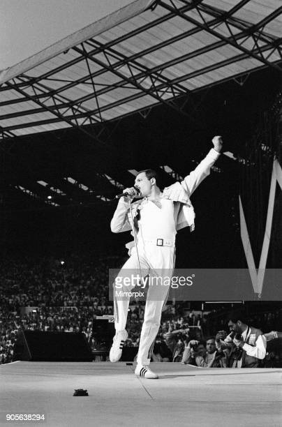 British Rock group Queen performing in concert at Wembley Stadium on their Magic tour Lead singer Freddie Mercury 11th July 1986