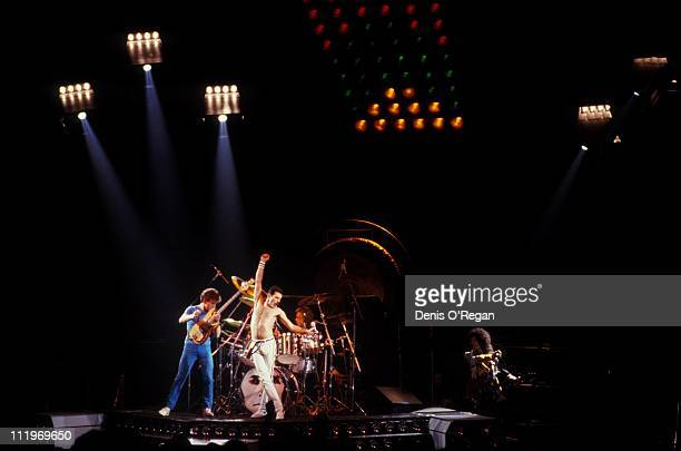 British rock group Queen performing on stage 1986