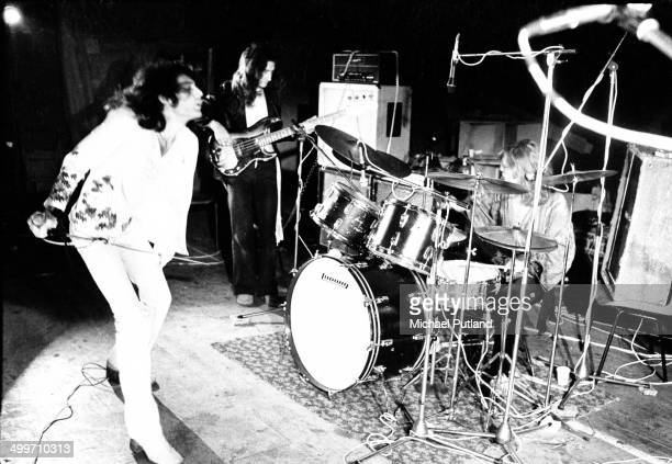 British rock group Queen rehearsing for their first major tour 8th July 1973 Left to right Freddie Mercury John Deacon Roger Taylor The tour was...