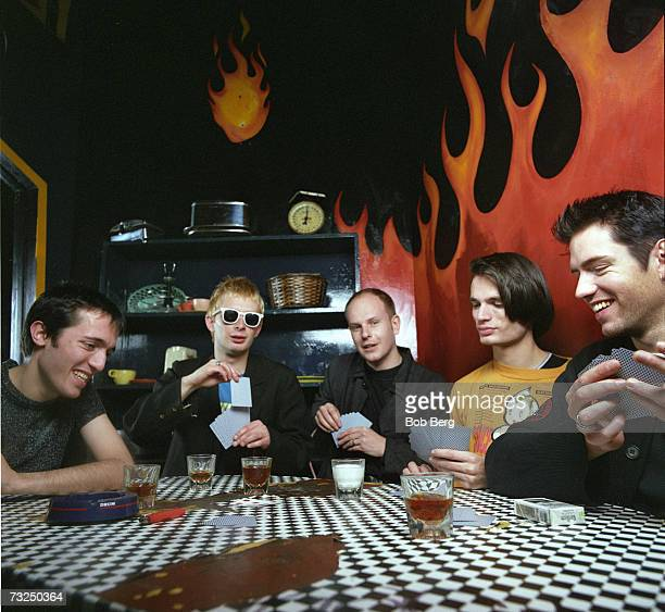 British rock group Radiohead singer/guitarist Ed O'Brien lead singer/pianist Thom Yorke drummer Phil Selway guitarist Jonny Greenwood and bassist...