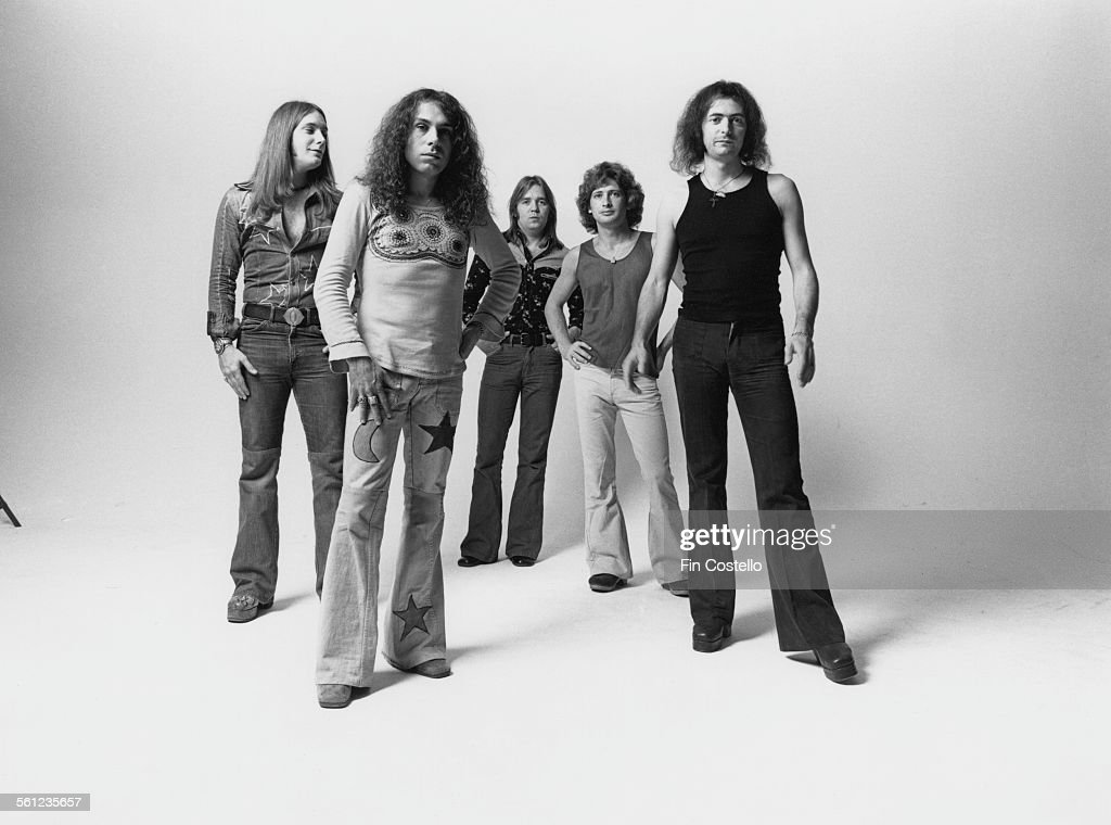 British rock group Rainbow, Los Angeles, California, June 1975. Left to right: bassist Craig Gruber (1951 - 2015), singer Ronnie James Dio (1942 - 2010), drummer Gary Driscoll (1946 - 1987), keyboard player Mickey Lee Soule and guitarist and songwriter Ritchie Blackmore.