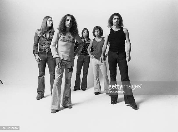 British rock group Rainbow Los Angeles California June 1975 Left to right bassist Craig Gruber singer Ronnie James Dio drummer Gary Driscoll keyboard...