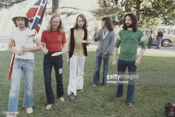 British rock group Supertramp posed together in the United States 11th May 1977 Left to right bassist Dougie Thomson saxophonist John Helliwell...