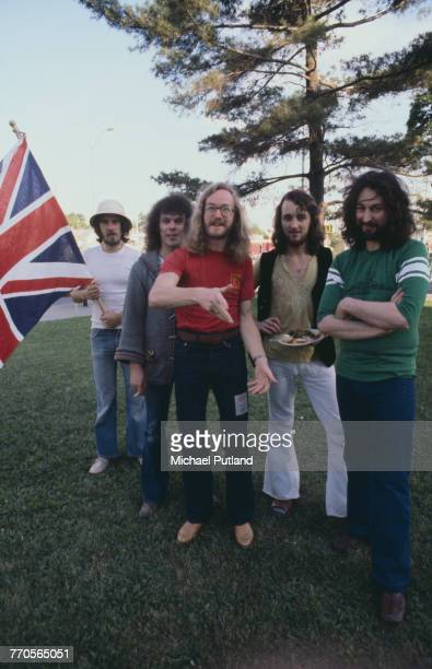 British rock group Supertramp posed together in the USA 11th May 1977 Left to right bassist Dougie Thomson drummer Bob Siebenberg saxophonist John...